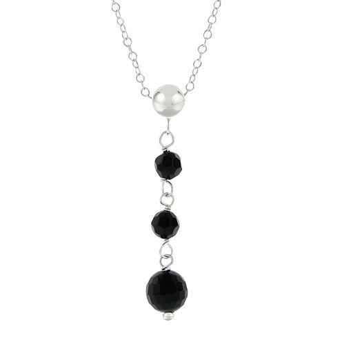 Genuine Black Onyx Triple Drop Necklace