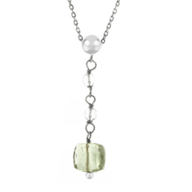 jcpenney.com | Genuine Green and White Quartz Drop Necklace