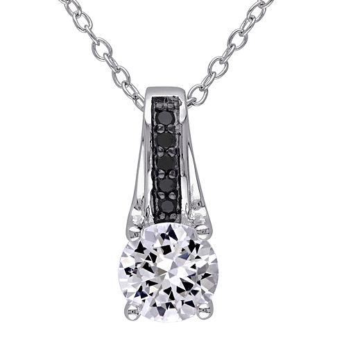 1/6 CT. T.W. Color-Enhanced Black Diamond & Lab-Created White Sapphire Necklace