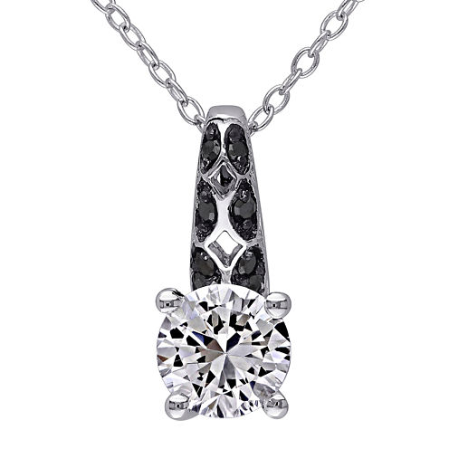 1/6 CT. T.W. Color-Enhanced Black Diamond & Lab-Created White Sapphire Necklace