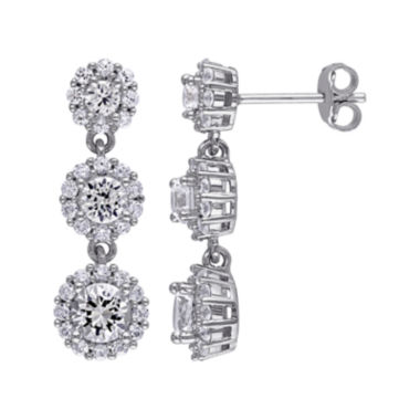 jcpenney.com | Lab-Created White Sapphire Sterling Silver Triple-Drop Earrings