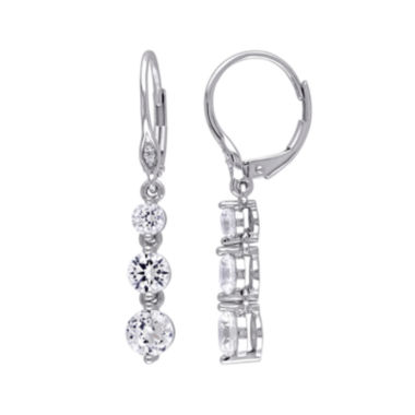 jcpenney.com | Lab-Created White Sapphire 10K White Gold Triple-Drop Earrings
