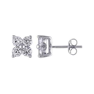 jcpenney.com | Lab-Created White Sapphire 10K White Gold Stud Earrings