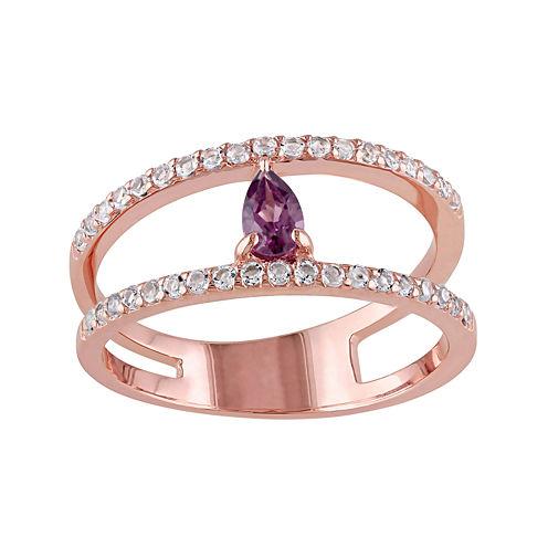 Genuine Purple Rhodolite and White Topaz Split Band Ring