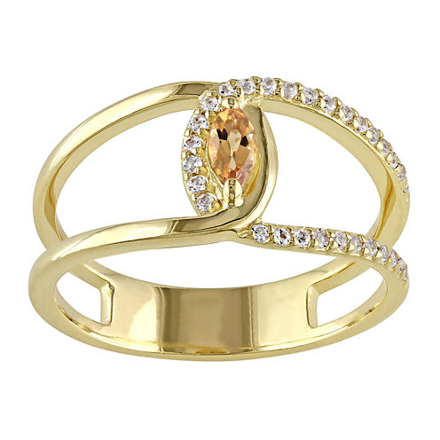 Genuine Citrine and White Topaz Cutout Ring