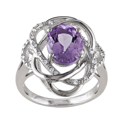 Genuine Amethyst and 1/10 CT. T.W. Diamond Ring