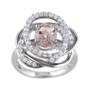 Genuine Pink Morganite and White Sapphire Sterling Silver Ring