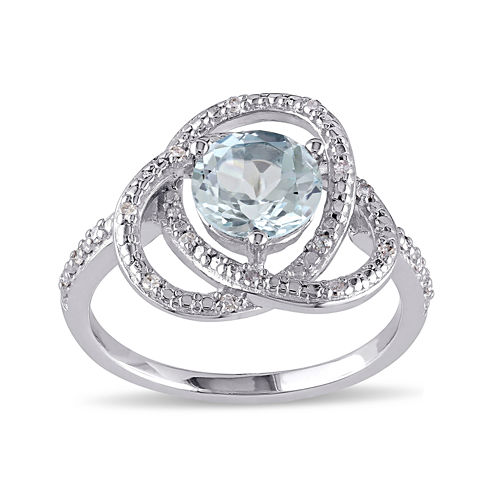 Genuine Sky Blue Topaz and 1/10 CT. T.W. Diamond Ring