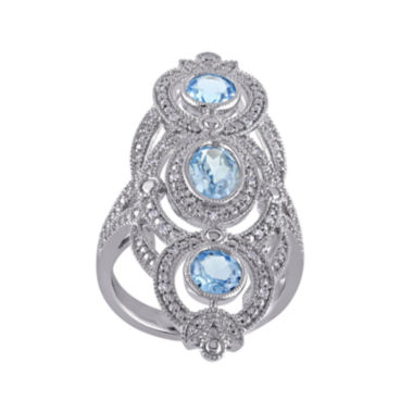 jcpenney.com | Genuine Sky Blue Topaz and 1/10 CT. T.W. Diamond 3-Stone Ring