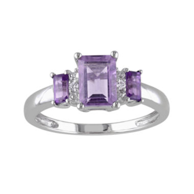 jcpenney.com | Genuine Amethyst and Diamond-Accent 3-Stone Ring