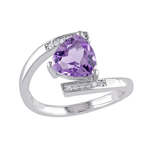 Genuine Amethyst and Diamond-Accent Sterling Silver Bypass Ring