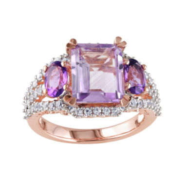 jcpenney.com | Genuine Rose de France, Amethyst and Lab-Created White Sapphire Ring