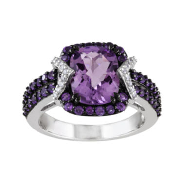 jcpenney.com | Genuine Amethyst and 1/10 CT. T.W. Diamond Sterling Silver Ring