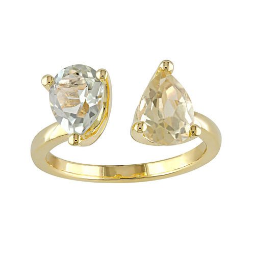 Gemstone Yellow Gold Over Silver Open Ring