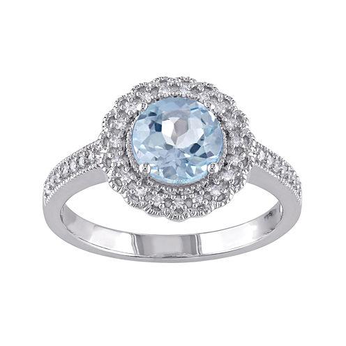 Genuine Sky Blue Topaz and 1/7 CT. T.W. Diamond Ring