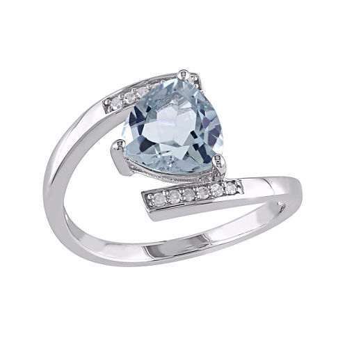 Genuine Sky Blue Topaz and Diamond-Accent Sterling Silver Bypass Ring