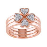 Genuine White Topaz 3-pc. Rose-Tone Sterling Silver Ring Set
