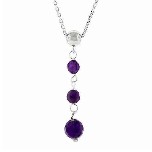 Genuine Amethyst Sterling Silver Triple-Drop Pendant Necklace