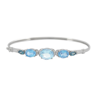 jcpenney.com | Genuine Blue Topaz and Lab-Created White Sapphire Sterling Silver Bangle Bracelet