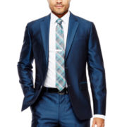 JF J. Ferrar® Blue Luster Herringbone Suit Jacket - Slim Fit