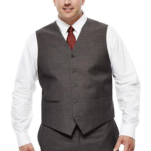 Claiborne® Charcoal Herringbone Suit Vest - Big & Tall