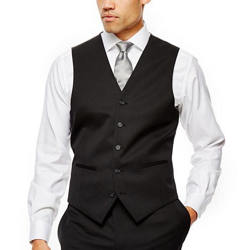 Claiborne® Black Solid Suit Vest - Classic Fit