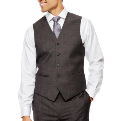 Claiborne® Charcoal Herringbone Suit Vest - Classic Fit