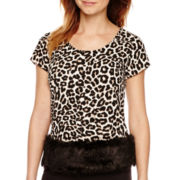 Worthington® Short-Sleeve Faux-Fur Trim Blouse - Petite