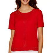 Worthington® Short-Sleeve Beaded Blouse - Tall