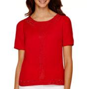 Worthington® Short-Sleeve Beaded Blouse - Tall