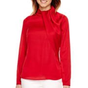 Worthington® Long-Sleeve Drape-Neck Blouse - Petite