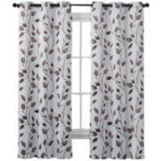 Victoria Classics Leaf Print Blackout Grommet-Top Curtain Panel