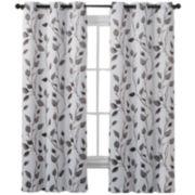 Victoria Classics Leaf Print Blackout Grommet-Top Curtain Panel