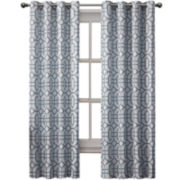 Victoria Classics Tribeca Jacquard Grommet-Top Curtain Panel