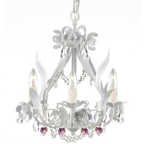 Wrought Iron and Crystal Floral Chandelier With Pink Crystal Hearts