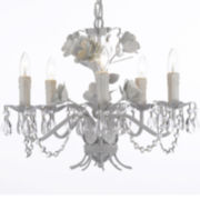 Wrought Iron and Crystal Floral Chandelier