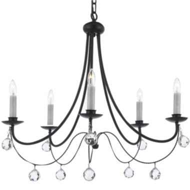 jcpenney.com | 5-Light Contemporary Wrought Iron Chandelier with Faceted Crystal Balls