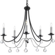 5-Light Contemporary Wrought Iron Chandelier with Faceted Crystal Balls
