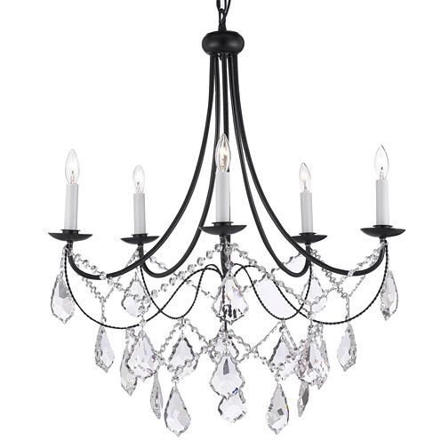 Empress Crystal 5-Light Wrought Iron Chandelier