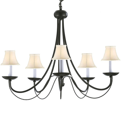Contemporary Black Wrought Iron Chandelier