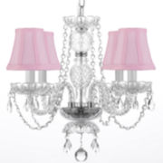 4-Light Crystal Chandelier with Pink Shades