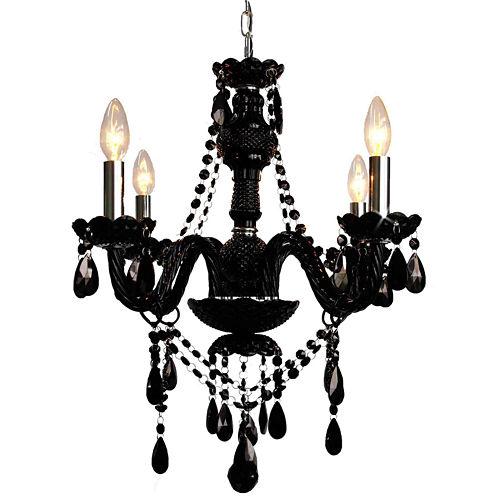 4-Light Venetian-Style Crystal Jet Black Chandelier