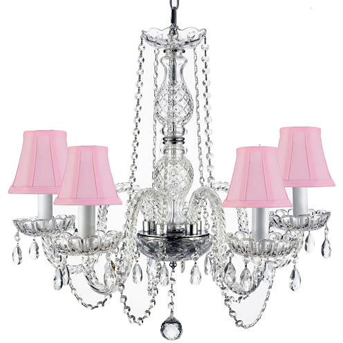 5-Light Crystal Chandelier with Shades