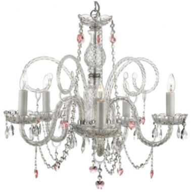 jcpenney.com | 5-Light Venetian-Style Crystal Chandelier with Pink Crystal Hearts