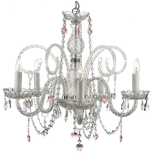 5-Light Venetian-Style Crystal Chandelier with Pink Crystal Hearts