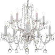 10-Light Venetian-Style Crystal Chandelier with Faceted Crystal Balls