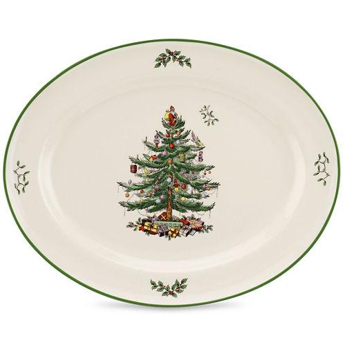"Spode® Christmas Tree 14"" Sculpted Porcelain Oval Platter"