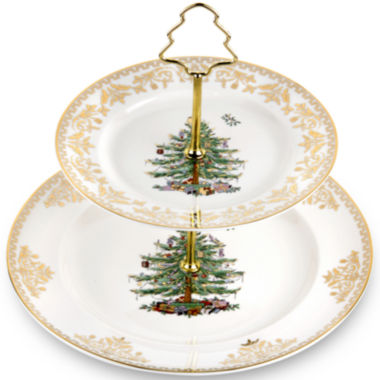 jcpenney.com | Spode® Christmas Tree Gold Collection 2-Tier Porcelain Cake Stand