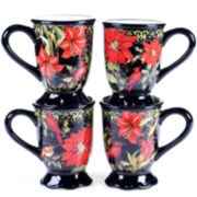 Certified International Botanical Christmas Set of 4 Mugs