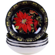 Certified International Botanical Christmas Set of 4 Soup Bowls
